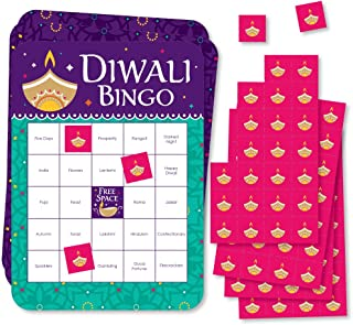 Big Dot of Happiness Happy Diwali - Bingo Cards and Markers - Festival of Lights Party Bingo Game - Set of 18