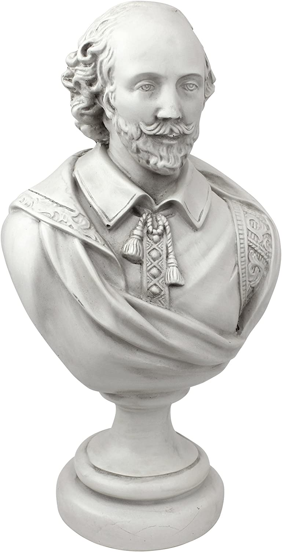 Design Toscano William Shakespeare Bust Statue, Desktop, Polyresin, Antique Stone, 30.5 cm