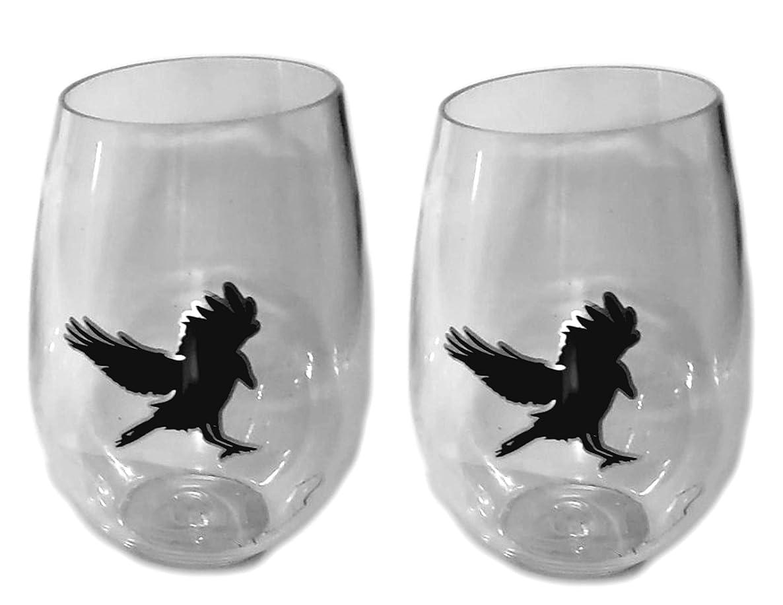 Raven Black Crow Stemless Plastic 18-Ounce Wine Glasses 2pc