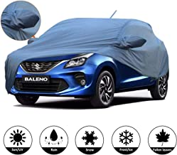 AllExtreme BN7006 Car Body Cover for Maruti Suzuki Baleno Custom Fit Dust UV Heat Resistant for Indoor Outdoor SUV Protection (Blue with Mirror)