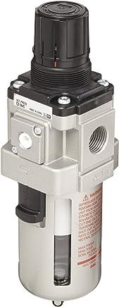 SMC AW30K-N03-Z Filter//Regulator 7.25-123 psi Set Pressure Range Polycarbonate Bowl with Bowl Guard 5 Micron 3//8 NPT Manual Drain Relieving Type No Gauge 53 scfm with Backflow Function