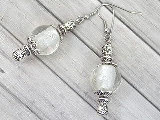 Orecchini Thurcolas dalla gamma Venezia in perle di vetro bianco di Murano