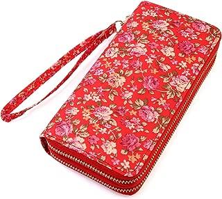 Lovely Floral Print Zip Around Wallet - Cute Flower Pattern Double Zipper Clutch Long Purse Card & Phone Wristlet Strap