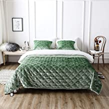 245×250cm Silk Velvet Double-Sided Reversible Quilted Quilt with Cushion Cover, Elegant Bedspread, Multi-Purpose Blanket T...