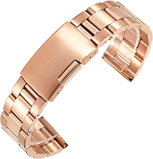 18mm 20mm 22mm 24mm 26mm 28mm 30mm Stainless Steel Watch Band Solid Classic Metal Strap Watchband for Wrist Watch,Rose Gold,20mm