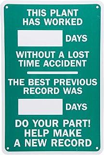 EpochSign Leyenda de Plantas trabajadas_Días sin accidente-Mejor Registro, Blanco sobre Verde Aluminio Metal Camino Sign Wall Decora 12 x 8 Pulgadas