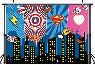LYWYGG 7x5FT Máscara Superhero Birthday Photo Telón de Fondo Paisaje Urbano Fondos de Dibujos Animados Superhero Party Supplies Decoraciones Superhéroes Decoraciones de Pared Para Niños o Niñas CP-233