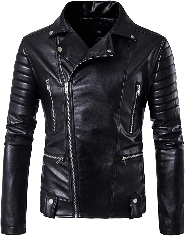 chouyatou Men's Smooth Touch Asymmetrical Zip Moto Faux Leather Racer Jacket