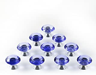 iQualite 10pcs 30mm Glass Clear Cabinet Knob Drawer Pull Handle Kitchen Door Wardrobe Hardware Used for Cabinet, Drawer, Chest, Bin, Dresser, Cupboard, Etc Blue