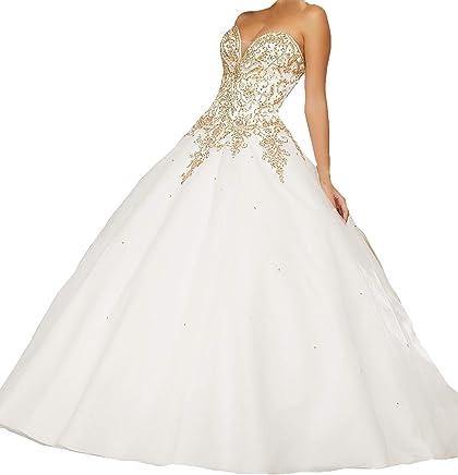 e2dc487346 HuaMao Women s Gold Rhinestones Beaded Wedding Bridal Sweet 16 Quinceanera  Dresses