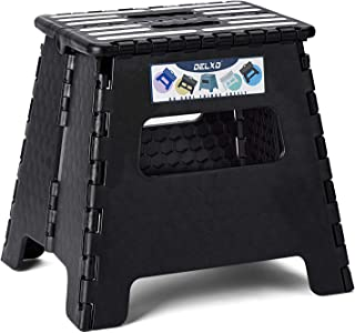 Delxo Folding Step Stool 13 inch Plastic Folding Stool,Kitchen Step Stool,Non Slip Foldable Step Stool for Adults,Plastic Stepping Stool,2020 Upgrade