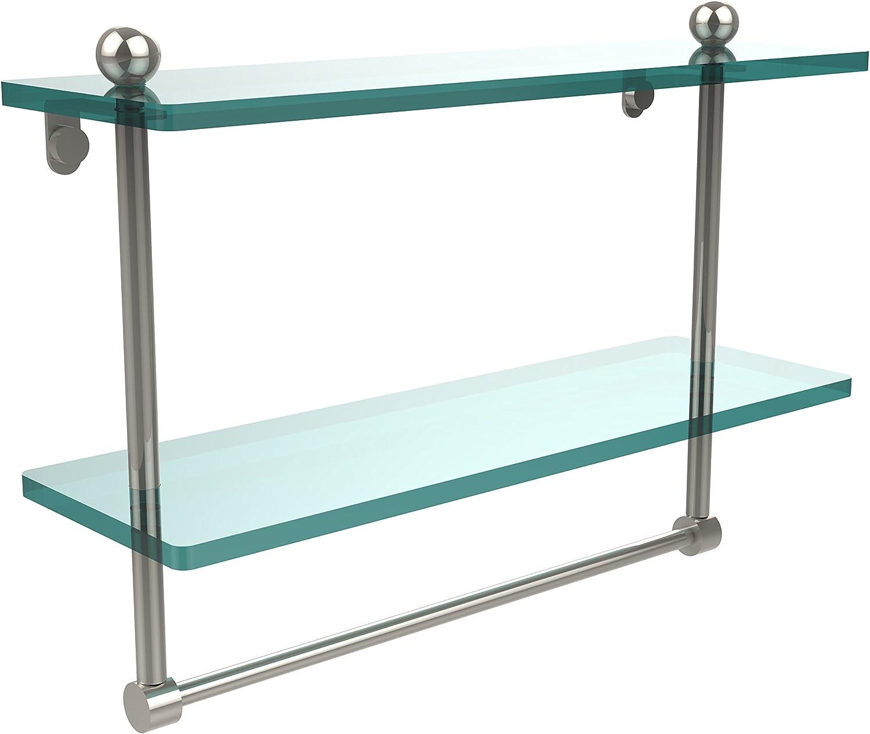 Allied Brass PR-2 16TB-PNI 16-Inch by 5-Inch Double Glass Shelf