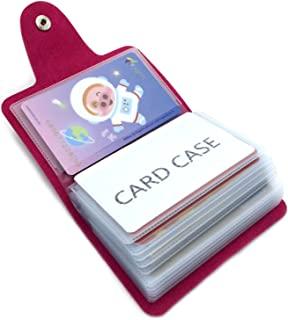 Porta Carte di Credito Pelle Donne Uomo - 24 Slot (Rose Red)