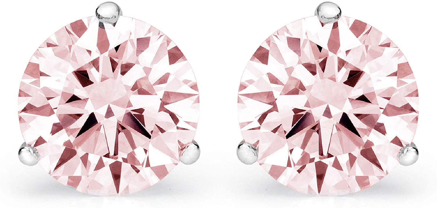 3.9ct Round Cut VVS1 Ideal Gemstone Solitaire Genuine Pink CZ Unisex Designer Stud Martini Earrings Solid 14k White Gold Screw Back conflict free Jewelry