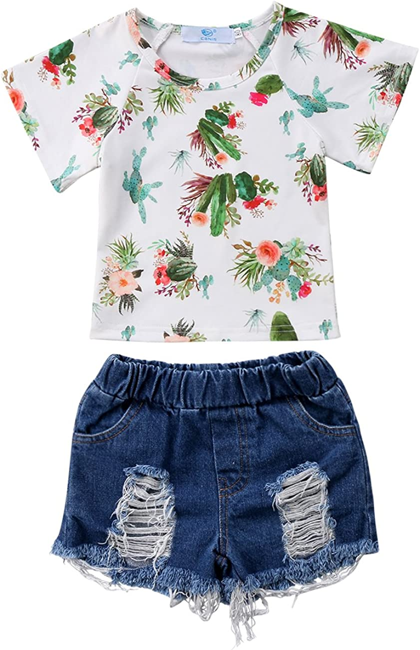 Little Baby Girls Short Sleeve Cactus Holes T-Shirt Top Deni and Max Today's only 82% OFF