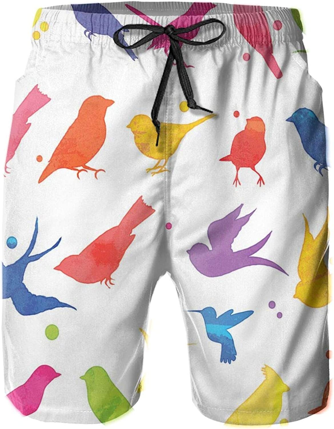 Watercolor Style Rainbow Colored Bird Silhouette Collection Abstract Animal Design Printed Beach Shorts for Men Swim Trucks Mesh Lining,L