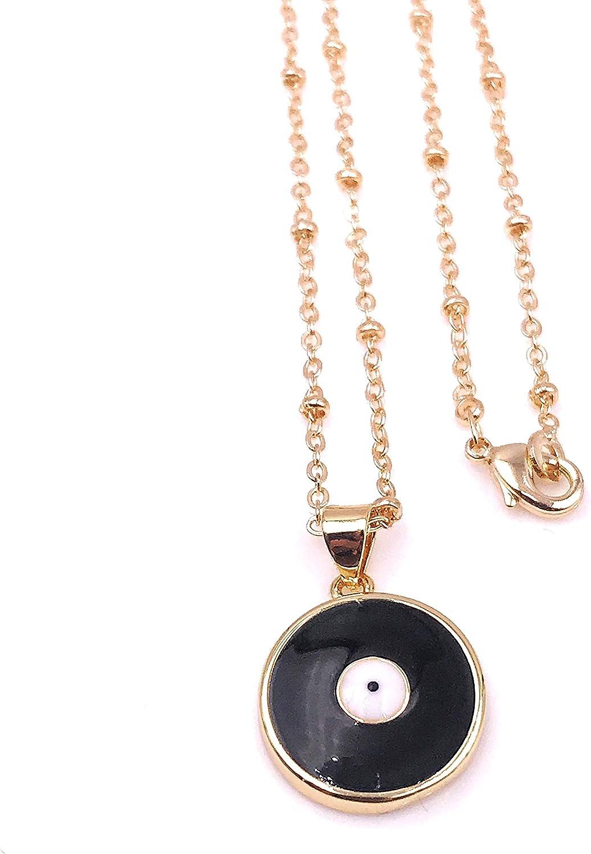 Mava Art Beautiful Black Enamel Evil Eye Pendant Necklace for Women 18K Gold Plated Chain Novelty Jewelry