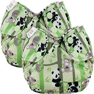 Blueberry Newborn Simplex All in One Cloth Diapers, Bundle of 2, Made in USA (Pandas)