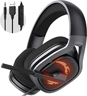 Gaming Headset, Surround Sound Over-Ear Headphones with Noise Cancelling Mic, Gaming Headphone Compatible for PC PS4, Xbox...