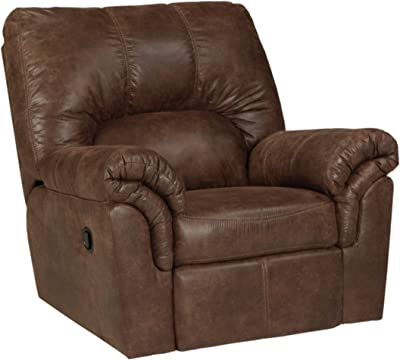 Bladen Contemporary Plush Upholstered Rocker Recliner Ashley Furniture Signature Design Pull Tab Reclining Coffee Brown