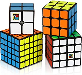 Dreampark Speed Cube Bundle 4 Pack 2x2x2 3x3x3 4x4x4 5x5x5 Vivid Color Sticker Magic Cube Puzzle Collection - Puzzle Toys for Kids and Adults (Set of 4)