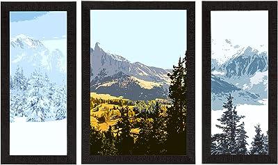 eCraftIndia Set of 3 Scenic Snow Mountains Landscape View Satin Matt Texture UV Art Painting