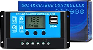GCSOAR 20A PWM Solar Panel Regulator Charge Controller 12V 24V Auto Work with LCD Display Dual USB Output Overload Protect...