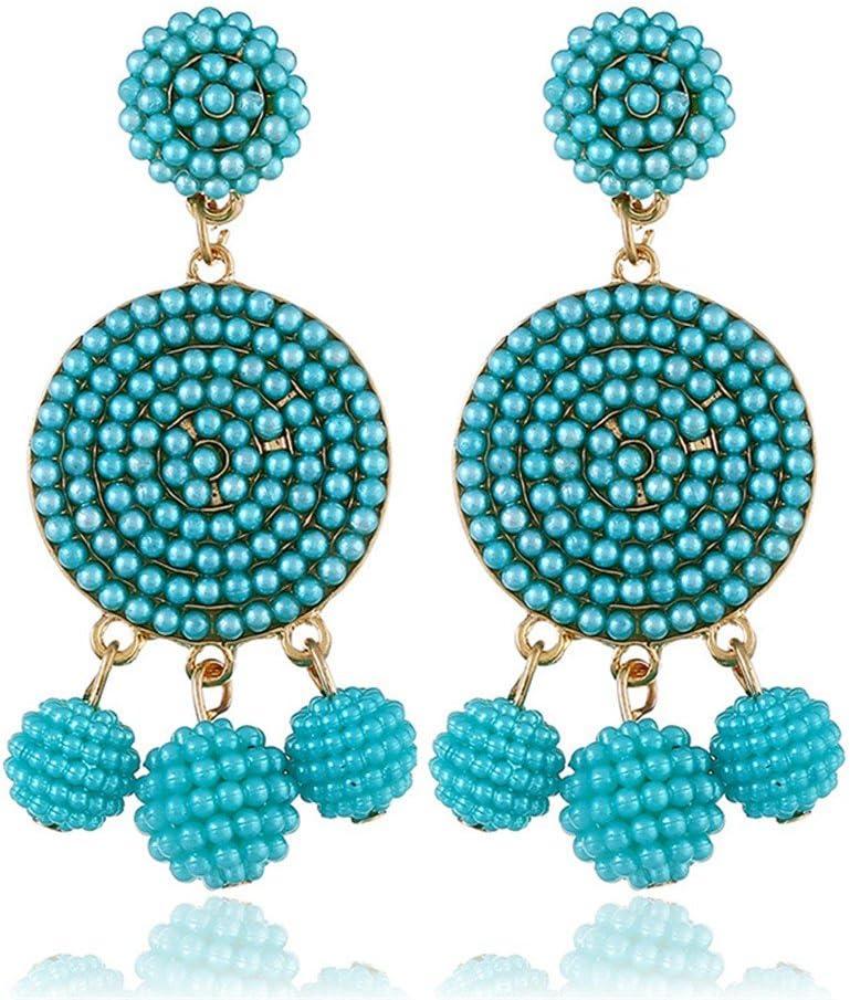 QERSHI Exquisite fashion ball ball earrings original full diamond pearl geometric earrings