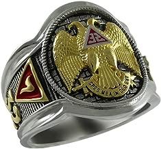 UNIQABLE Scottish Rite 32 Degree Masonic Knights Templar Silver 18k Gold Plated Freemasonry Signet Ring KTR005