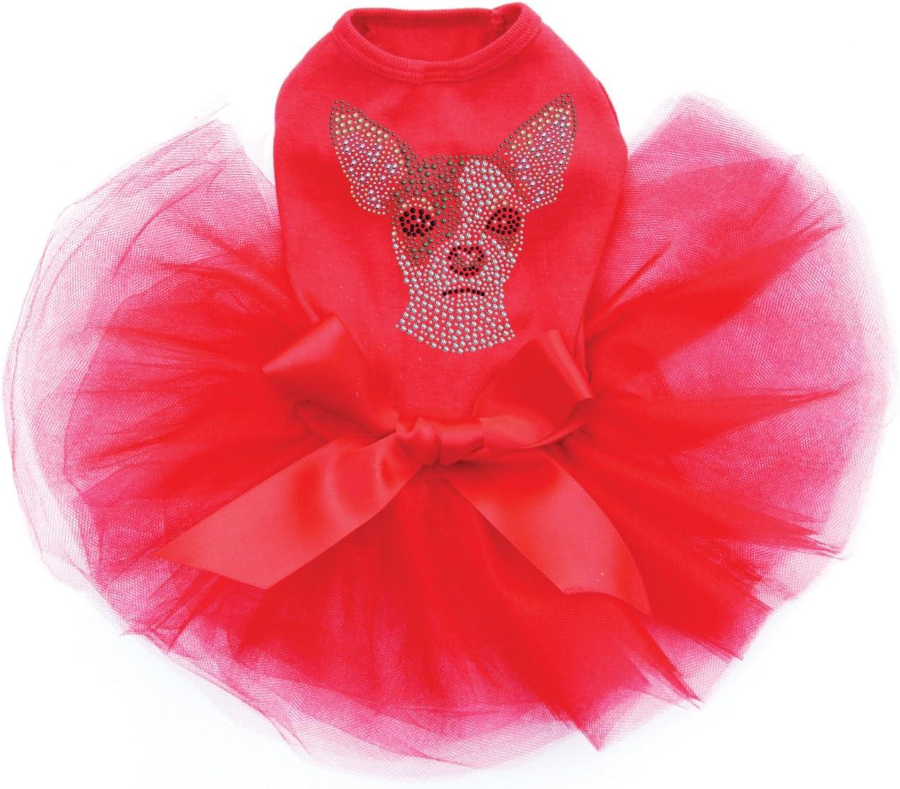 Chihuahua Face Bling store Rhinestone Dog Washington Mall Tutu Red Dress XL