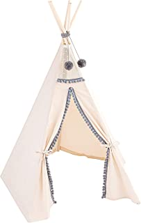 MINICAMP Teepee tält för barn med grå pom poms dekor - Tipi lektält från duk och trästänger - extra stabil lekstuga för barn