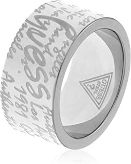 Guess USR81002-54 Stainless Steel Engraved-Logo Wide Band Ring for Women - Silver