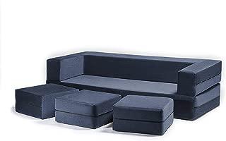 Jaxx Zipline Convertible Sleeper Sofa & Three Ottomans/California King-Size Bed, Marine