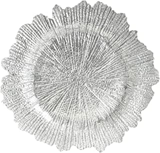 Koyal Wholesale Bulk Flora Glass Charger Plates, Set of 4, Silver, Starburst Charger Plates, Reef Charger Plates
