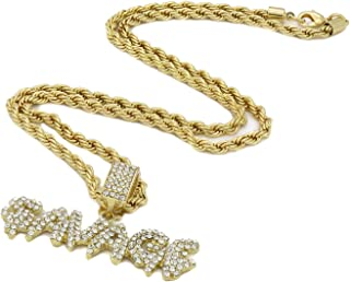 Jewel Town Mens New Bling Crown Bubble Letter O 14k Gold Pendant Necklace w//Two 20//18 Inch Choker Tennis Chains 5mm /& Cz Figaro Set