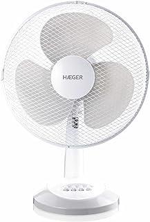 HAEGER Table Wind - Ventilador de Mesa 40cm con 45W de potencia, 3 velocidades - aspas de 40 cm, oscilación 90º, motor alta durabilidad 100% cobre, funcionamiento silencioso