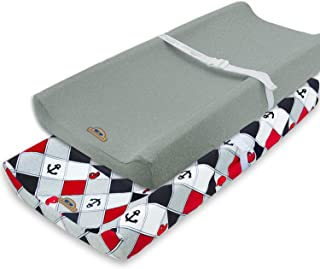 Super Soft and Stretchy Changing Pad Cover 2pk by BlueSnail (red Anchor)