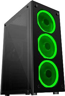 Mars Gaming MCG, custodia per PC ATX, vetro temperato, 3 ventole LED verdi