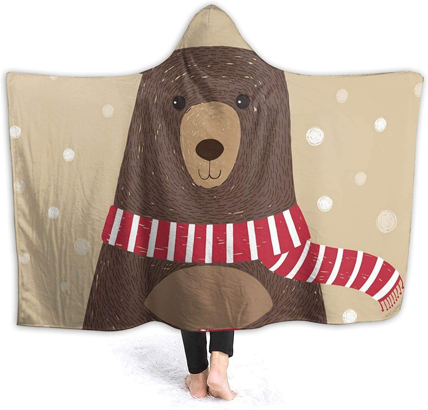 Hooded Blanket Anti-Pilling New product type Flannel Manufacturer OFFicial shop Cute Bear Wearing Scarf Red