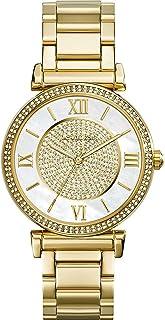 ساعة بهيكل ذهبي ستانلس ستيل ومينا بيضاء للنساء من مايكل كورس، MK3332