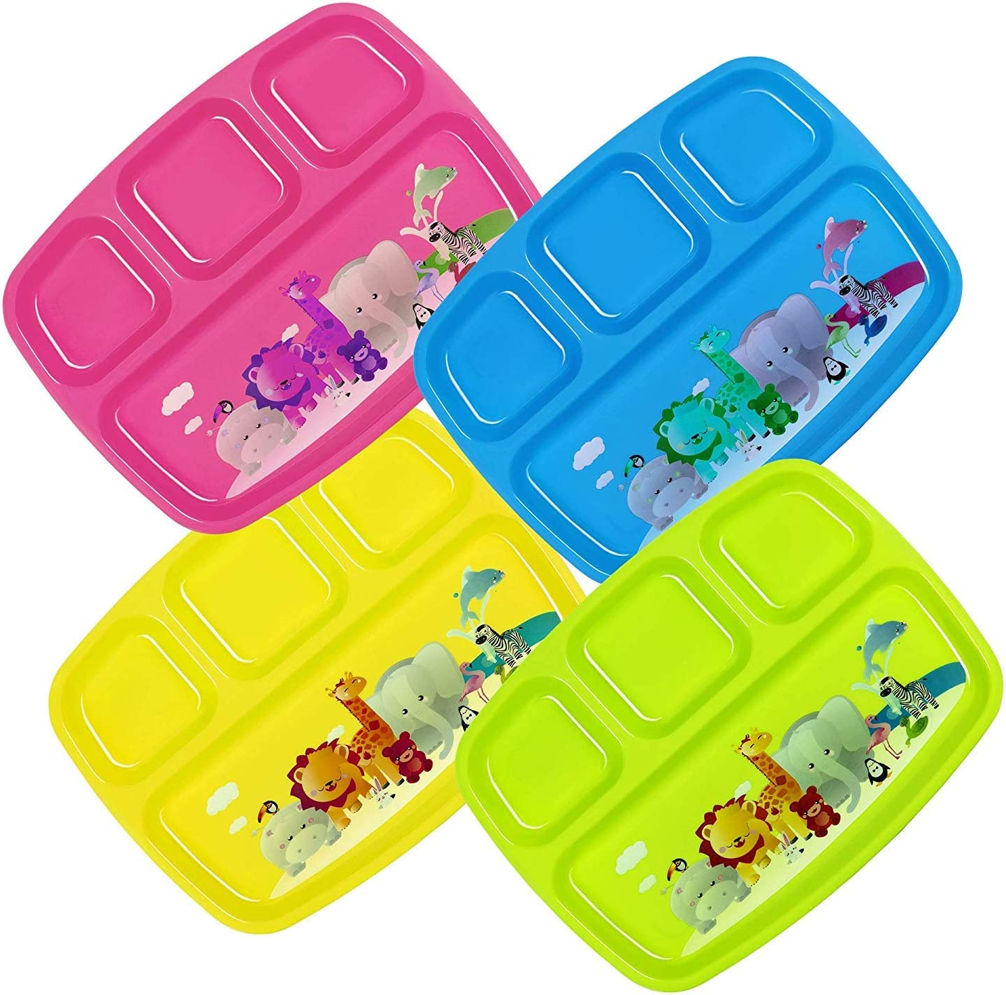 Plaskidy Kids Plastic 4-Compartment Plates Dividers Ranking TOP17 Shipping included Set With - o