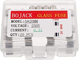 BOJACK 5x20mm 6.3A 6.3amp 250V 0.2x0.78 Inch F6.3AL250V Fast-Blow Glass Fuses(Pack of 20 Pcs)