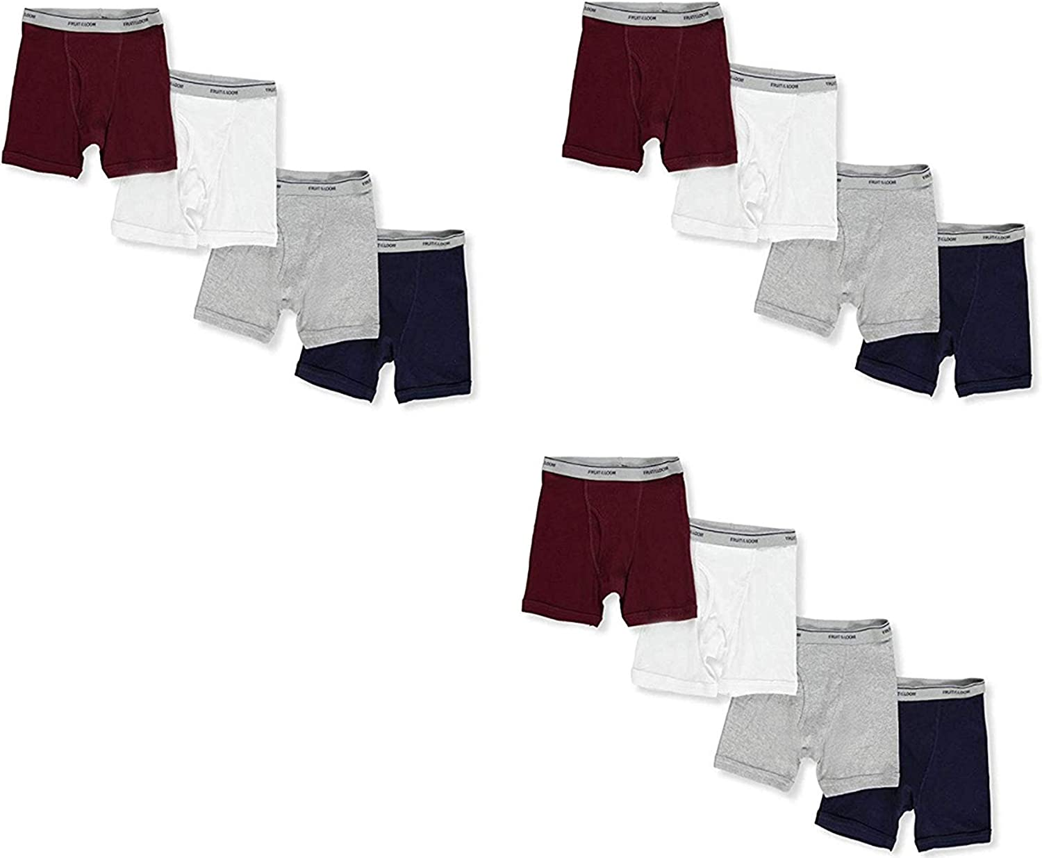 Fruit of the Loom Big Boys' 12-Pack Cotton Boxer Briefs