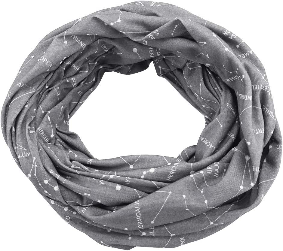 Infinity Scarf Travel Scarf with Secret Zipper Pocket, Mysterious Romantic Constellation Pattern for Men Women(Grey)
