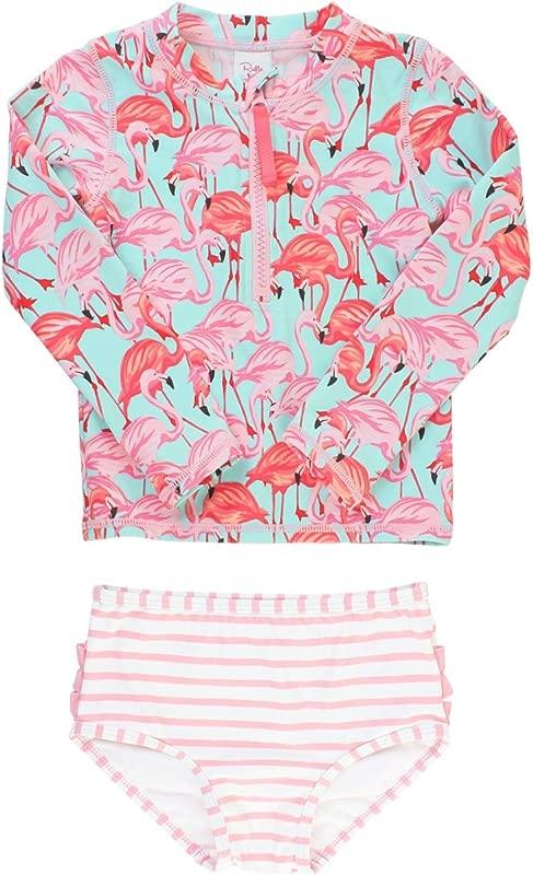RuffleButts Little Girls Long Sleeve Rash Guard 2 Piece Swimsuit Set W UPF 50 Sun Protection With Zipper
