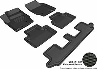 3D MAXpider Complete Set Custom Fit All-Weather Floor Mat for Select Volvo XC90 Models - Kagu Rubber (Black)