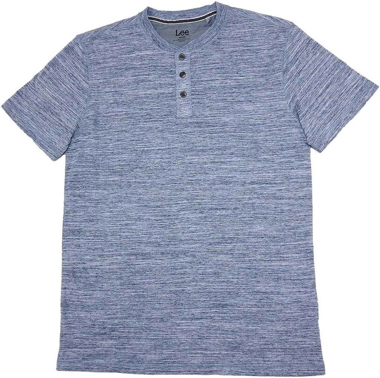Lee Mens Size Medium Short Sleeve Henley Shirt, Light Blue
