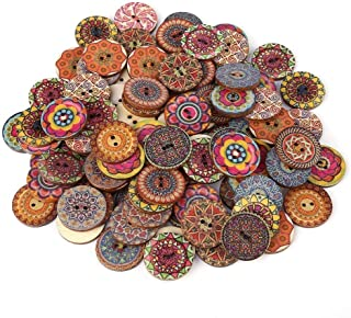 100 Pcs Boutons En Bois (Vintage Boutons Mixte)