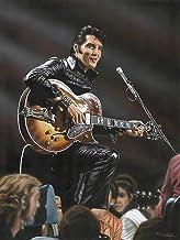 Buyartforless Elvis in Leather Artwork by Darryl Vlasak 32x24 Art Painting Reproduction Canvas, Black