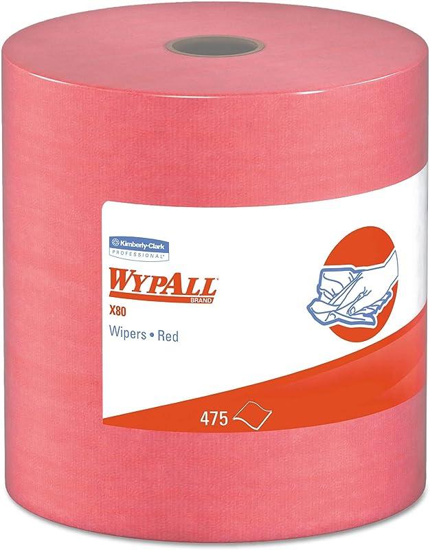 WypAll 41055 X80 Cloths HYDROKNIT Jumbo Roll 12 1 2 X 13 2 5 Red 475 Wipers Roll